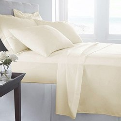 ... Luxury Home Super Soft 3 Pcs Bed Sheets Set   Cream   Size:Twin ...