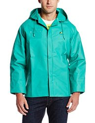 ONGUARD 71034 PVC/Nylon/Polyester Chemtex Jacket with Attached Hood and Inner Cuffs, Green, Size Medium