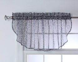 Stylemaster Julia Printed Sheer Festoon Valance, 56 by 17-Inch, Chrome