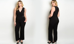 Women's Plus Size Wide Leg Jumpsuits - Black - Size: 3X-Large