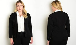 Women's Long Sleeve Collared Blazer With Button Closure - Black - Size:2XL
