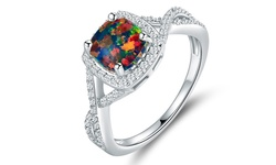 18K White Gold Plated Black Opal Ring - Size: 5