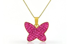 Kids' Butterfly Pendant Swarovski Elements Crystals 14K Yellow Gold - Pink