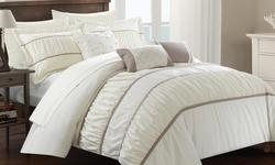 Chic Home 10-pc. Penelope Pleat/Ruffle Comforter Set - Beige - Size: King