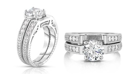 DazzlingRock 18k CZ Bridal Diamond Cut Ring & Band Set - WG - Size: 7