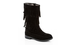 Coco Jumbo Limor-2 Girls' Riding Fringe Boot - Black - Size: 4