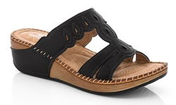 Lady Godiva Comfort Wedge Sandal - Black - Size: 8.5 (2402-41)