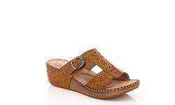 Lady Godiva Women's Comfort Wedge Sandal - Tan - Size:9 (2402-18)