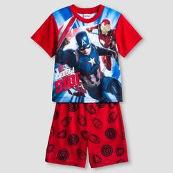 Avengers Captain America Kids Boys 2-Piece Pajama Set - Red/Blue - Size: L