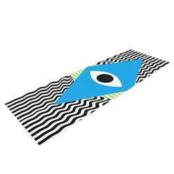 "Kess InHouse Vasare Nar ""Eye Optical"" Yoga Exercise Mat -Black/Blue-72x24"""