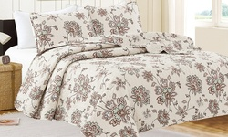 3-Pc Oversized Ultra-Soft Vilma Printed Quilt Set - Brown Floral - Size: Q