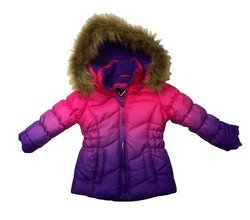 Vertical 9 Toddlers Girls Ombre Puffer Coat - Pink & Purple - Size: 2T