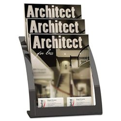 Deflecto Contemporary 3-Tier Literature Holder - Black - Magazine Size