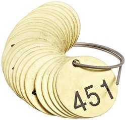 "Brady 1/2"" Numbers 451-475 Legend ""COND"" Stamped Brass Valve Tags - 25-Pck"
