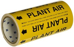 "Brady 8"" X 30' Legend ""Plant Air"" Roll Form Sensitive Vinyl Pipe Marker"