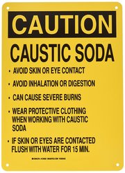 "Brady 14""x10"" ""Caution Caustic Soda"" Chemical Hazard Sign - Black/Yellow"