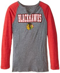 NHL Chicago Blackhawks Shout Out L/S Triblend Tee - Dark Grey Heather / L