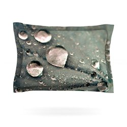 "Kess InHouse Iris Lehnhardt ""Water Droplets Grey"" Cotton Sham-Dark - 40x20"