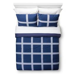 Room Essentials 3-pc Linework Mini Plaid Comforter Set - Blue - Full/Queen