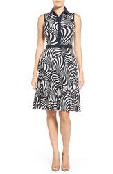 Michael Kors Women's Jubilee Pleated Dress - Black/White - Size: 12