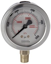 NOSHOK SS Liquid Filled Dual Scale Dial Indicating Pressure Gauge