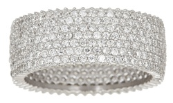 7-Strand Cubic Zirconia Micro-Pav Sterling Silver Eternity Ring - Size: 5