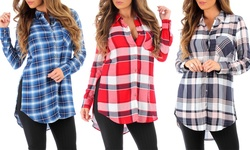 Women's Sheer Plaid Button Down Tunic Dress - Dark Blue - Size: Medium