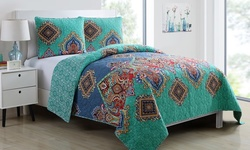 Victoria Classics Global Bazaar Reversible Quilt Set 3Pc - Multi - Size: K