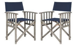 Safavieh Set of 2 Laguna Director Chairs - Navy/Grey