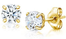 14K Solid Gold Round-Cut Stud Earrings wCrystals by Swarovski - 3MM
