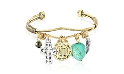 Faith Turquoise Charm Prayer Bangle - Size: 7""