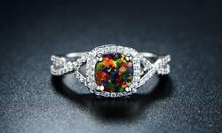 Sevil Women's 18K White Gold Plated Opal Ring - Black - Size: 6mm