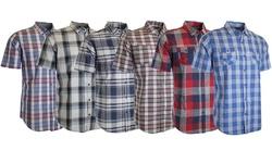 Men's Burnside Plaid Woven S/s Shirt: Charcoal/large