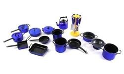 Velocity Toys Kitchen Utensils Kitchenware Play set - 21Pcs - Red