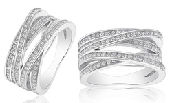 18K White Gold Plated CZ Orbit Ring - Size 6