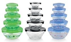 Glass Nesting Bowls with Lids Set 10 Pcs - Yellow