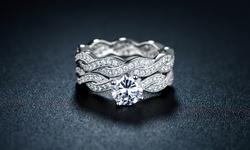18K White Gold CZ Braided Engagement Ring Set - Size 8