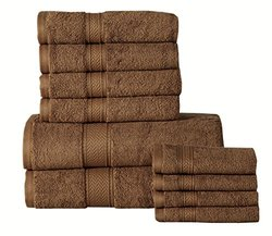 Casa Platino 650GSM Egyptian Cotton Bath Towel Set (10-Piece): Mocha