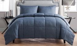 Chambray Down-Alternative Comforter Set - Light Blue - Size: Full