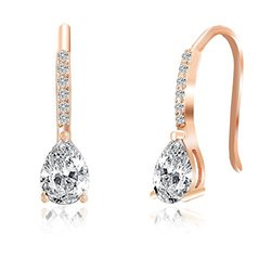 Lesa Michelle Hook Earring with Swarovski Elements - 18K Rose Gold