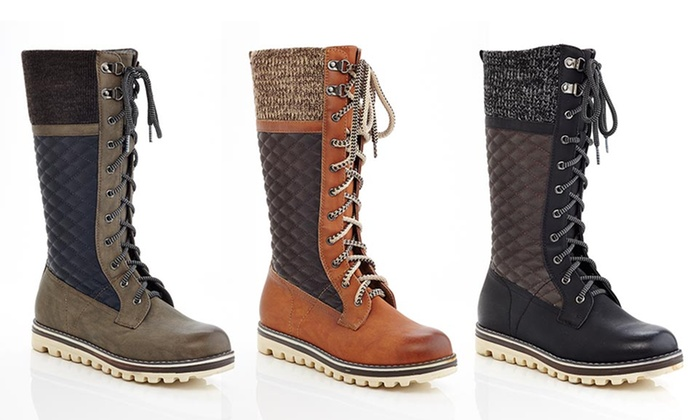 Eddie Marc Lace Up Combat Tall Winter Boots Charlie - Taupe - Size ...