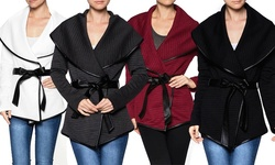 Women's Quilted Wrap Jacket: Black/medium