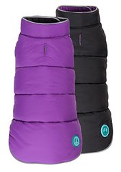 "Fab Dog Reversible Puffer Vest Dog Jacket - Purple/Black - Size: 16"" Length"