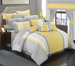 Chic Home 24 Piece Danielle Complete Pintuck Embroidery Color Block Bedding, Sheets, Window Panel Collection Bed in a Bag Comforter Set, Queen, Yellow