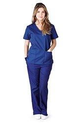 Natural Uniforms Women's Mock Wrap Scrub Set (Small, True Navy Blue)