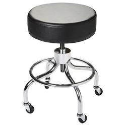 Flaghouse Adjustable Height Mobile Stool with Black Vinyl Cover