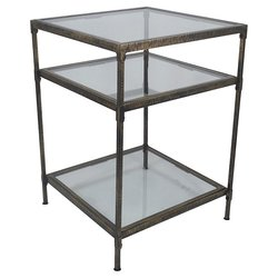"Threshold 16"" Square Metal & Glass Accent Table - Grey"