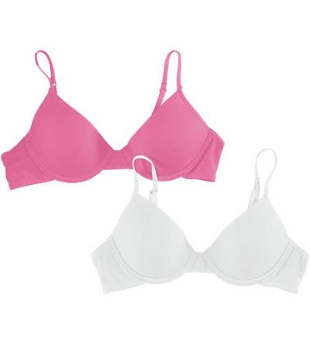 Hanes Girl s 2-Pack Padded Underwire Bras - White Pink - Size  36 ... 224c19a2c