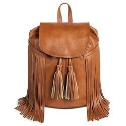 Mossimo Women's Faux Leather Fringe Backpack Handbag - Cognac