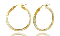 14K Solid Gold Two Tone Wreath Cut Hoops Earrings - Size: 22mm